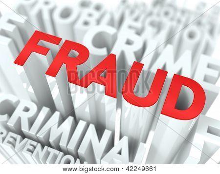 Fraud Background Design. Criminal Offence Word Cloud Concept. poster