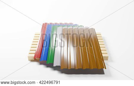 3d Render Of A Metal Profiled Panel On Pallet In The Assortment Of Five Popular Colors Isolated On A
