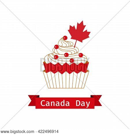 Canada Day Cupcake With Red Maple Leaf Flat Color Vector. Canadian National Holiday Celebration Back