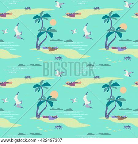 Beautiful Beach Landscape Seamless Vector Pattern. Tropical Island Scene Cartoon Mint Background. Ha