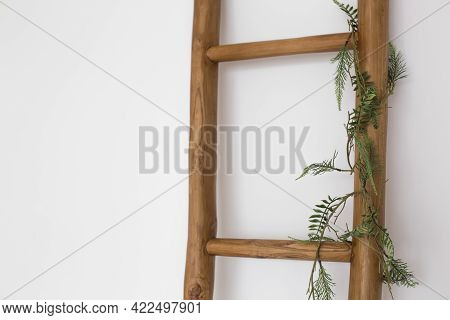 Wooden Ladder In An Empty Loft Style Room.