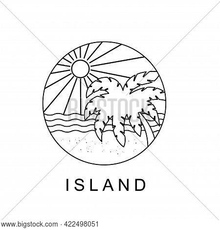 Palm Trees Ocean View Monoline Vector Illustration