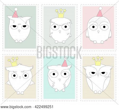 The Cute Owl Animal Cartoon In Picture Frame. Hand Drawn Cartoon Style