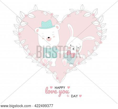 The Cute Baby Rabbit And Piggy Character Animal Cartoon Hand Drawn Style