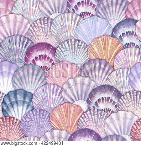 Watercolor Sea Shell Seamless Pattern. Hand Drawn Seashells Texture Vintage Ocean Background. Waterc