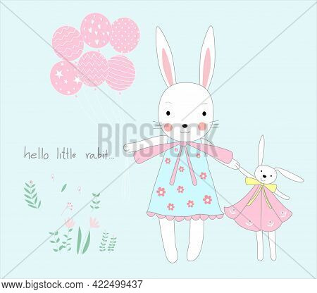 The Cute Baby Rabbit With Balloons. Cartoon Sketch Animal Style.