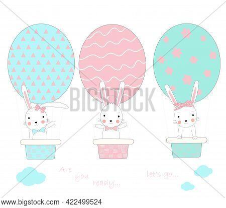 The Cute Baby Rabbit With Egg Shape Balloon Air. Hand Drawn Cartoon Style