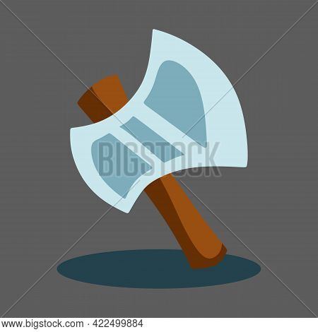 Vector Illustration Of Wooden Ax. Forester, Fire, Tourist Ax And Kitchen Ax. Camping Tool Icon. Vect
