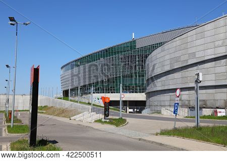 Gliwice, Poland - May 11, 2021: Arena Gliwice Multi-purpose Indoor Arena In Poland. It Is One Of Big