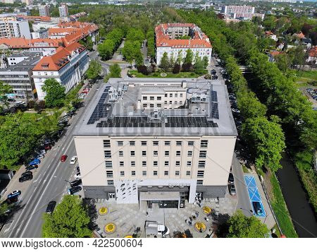 Gliwice, Poland - May 11, 2021: Aerial View Of Town Hall (urzad Miasta) In Gliwice City In Poland, O