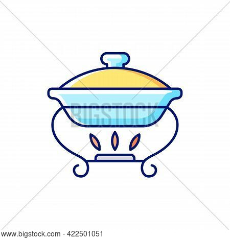 Warming Tray Rgb Color Icon. Isolated Vector Illustration. Chafing Dish For Storing Foods. Container