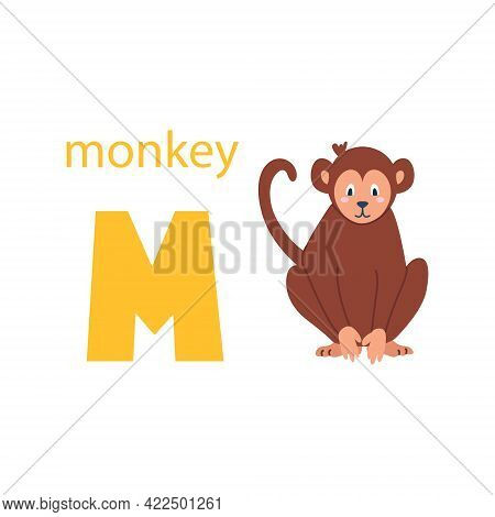 Cute Monkey Card. Alphabet With Animals. Colorful Design For Teaching Children The Alphabet, Learnin