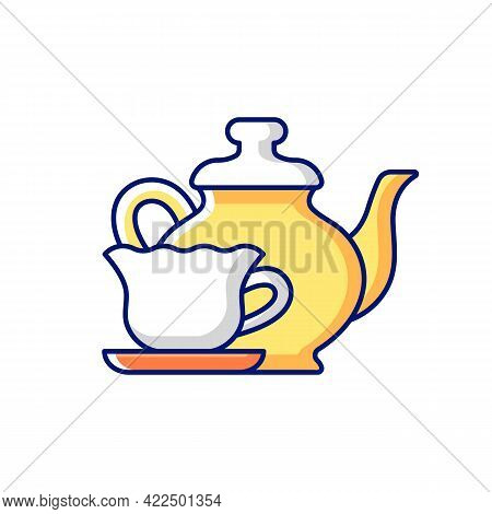 Vintage Style Tableware Rgb Color Icon. Isolated Vector Illustration. Antique Dinnerware For Special
