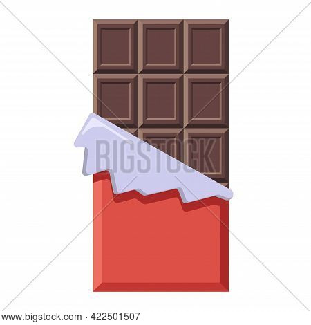 Dark Chocolate Bar In Opened Wrapper. Flat Style Bittersweet Cacao Candy For Logo, Menu, Emblem, Tem