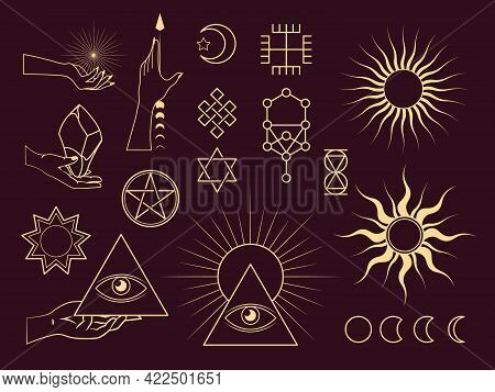Collection Of Mystical And Astrology Objects. Mystical Signs, Silhouettes, Zodiac Signs.