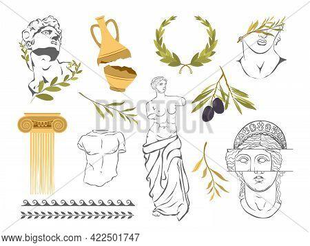 Various Antique Statues. Aphrodite Venus Portrait. Antique Greek Sculpture Set. Various Antique Stat