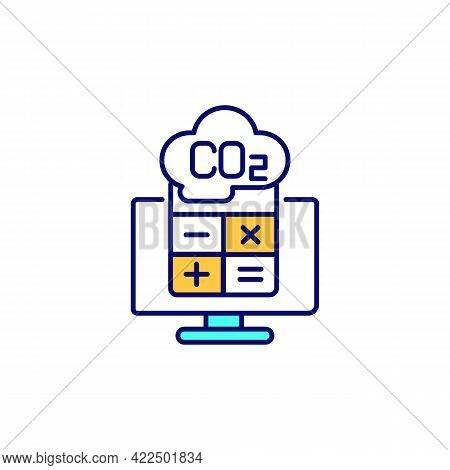 Co2 Emissions Calculation Rgb Color Icon. Carbon Footprint Calculator. Isolated Vector Illustration.