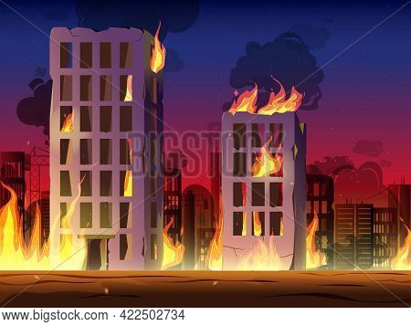 Destroyed City On Fire Vector. Fire In Burning Buildings. Nuclear Radioactive Armageddon