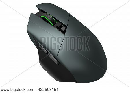 Modern Wireless Gaming Computer Mouse On Professional Pad Isolated On White Background. 3d Rendering