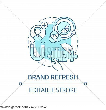 Brand Refresh Concept Icon. Brand Change Type Abstract Idea Thin Line Illustration. Adjusting Logo A