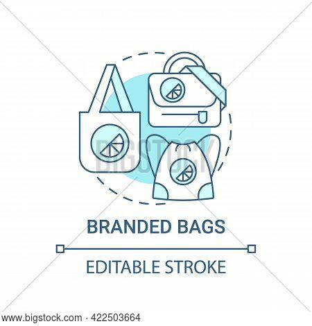 Branded Bags Concept Icon. Corporate Brand Material Abstract Idea Thin Line Illustration. Practical