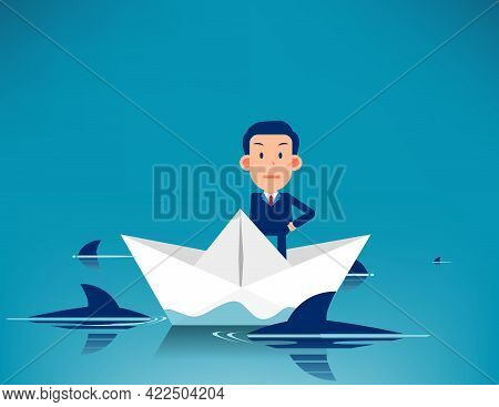 Standing On Paper Boat Surrounded By Sharks