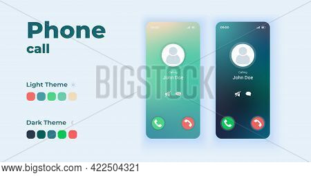 Incoming Call Displaying On Screen Cartoon Smartphone Interface Vector Templates Set. Mobile App Scr
