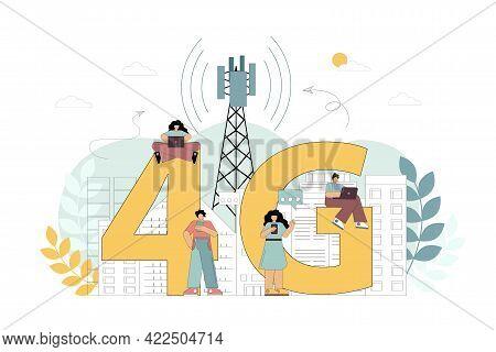 4g Network Wireless Technology. 4g Network Wireless Technology. New Generation Of Mobile Communicati