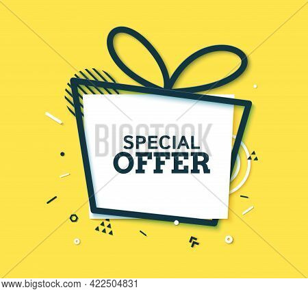 Special Offer Discount Black Frame And White Rectangle In Paper Cut Style. Outline Gift Box Shape Wi