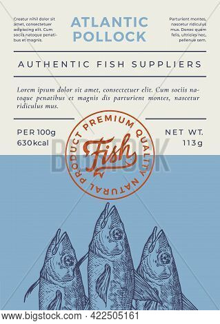 Ocean Fish Abstract Vector Packaging Design Or Label. Modern Typography Banner, Hand Drawn Pollock S