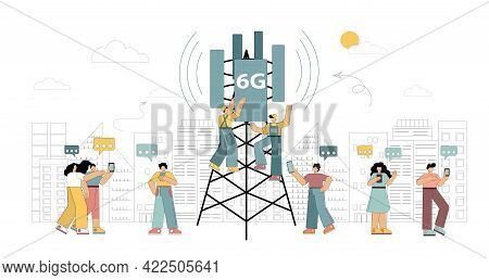 6g Technologies. New Generation Mobile Networks. Workers On The Tower Are Installing High-speed Mobi