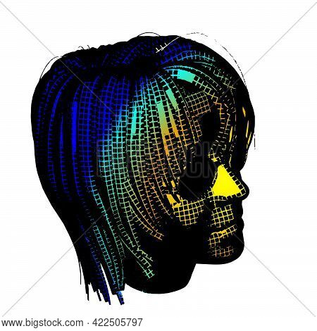 Wow Pop Art Face. Sexy Emotion Girl Vector Colorful 3d Greed Background