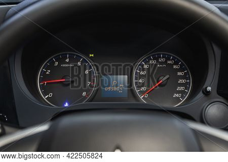 Novosibirsk, Russia - May 29, 2021: Mitsubishi Outlander, Close Up Instrument Automobile Panel With