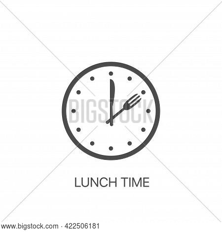 Lunch Time Vector Icon Food Time On The Clock