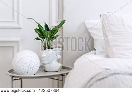 Green Plant In Futuristic White Grecian Bust Pot With Green Plant And Contemporary Round Lamp On Bed