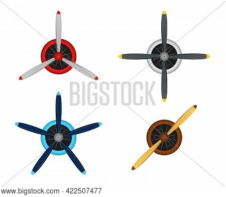 Plane Blade Propeller Set Isolated On White Background. Vintage Airplane Propeller Icons With Radial