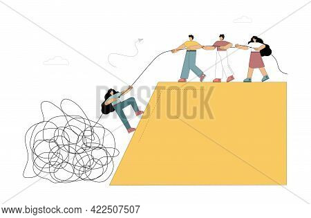Help. Providing Assistance, Psychological, Economic, Etc. Small People Pull A Person Out Of The Abys