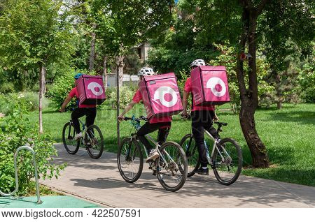 Krasnodar, Russia - June 1 2021: Food Delivery Service Providers At Work. Stay Home And Keep Life Co