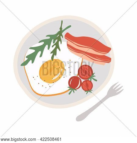 Breakfast With Scrambled Eggs And Bacon. Vector Illustration In Flat Style