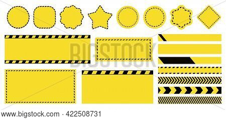 Barrier Tapes And Banners. Barricade Lines And Price Tags. Industrial Clip Art And Backgrounds