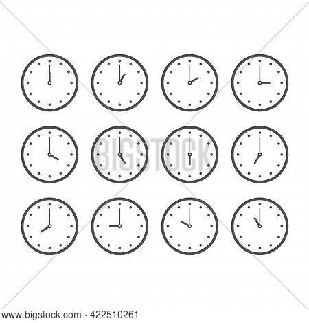 Set Of Round Analog Clocks Showing Various Time