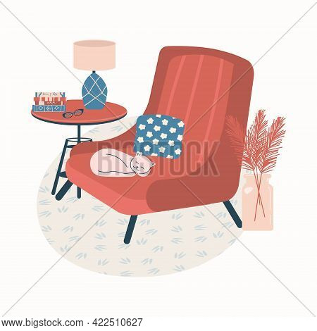 Cozy Room Interior - Armchair, Coffee Table, Plants In Vase, Lamp, Cat And Book. Modern Comfy Apartm