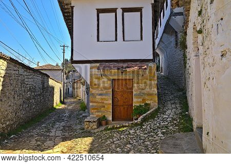 Cobbled Street In Berat City On A Sunny Day