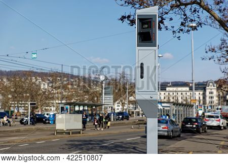 Zurich Switzerland - March 10, 2021:road Traffic: Speed And Red Light Radar In One Device, Cars Stop