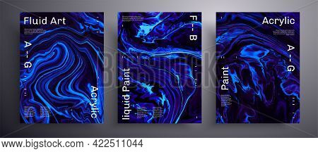 Abstract Acrylic Poster, Fluid Art Vector Texture Pack. Trendy Background That Applicable For Design