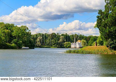 Big Pond With Turkish Bath Pavilion On A Coast In The Catherine Park In Tsarskoye Selo, Pushkin, Rus