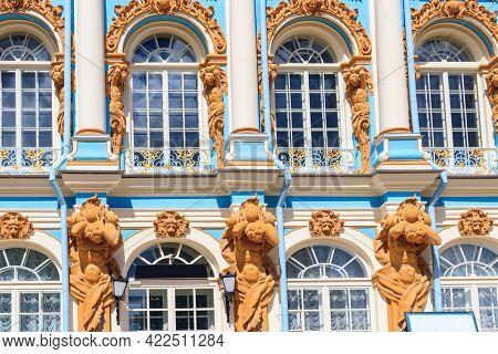 Fragment Of Catherine Palace In A Town Of Tsarskoye Selo (pushkin) Near Saint Petersburg, Russia