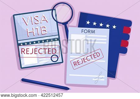 The Concept An Rejected American Work Visa, H1b. Top View, Passport With Green Stamp, Pen, And A Fol