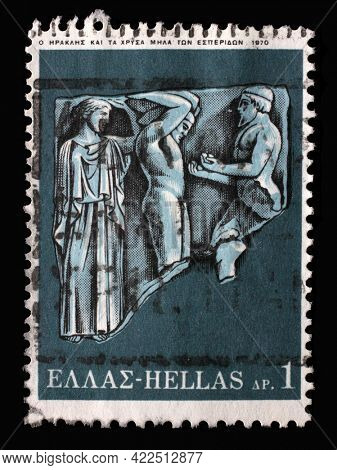 ZAGREB, CROATIA - JUNE 25, 2014: Stamp printed by Greece shows Hercules Deeds - Hercules and the golden apples of Hesperide, circa 1970