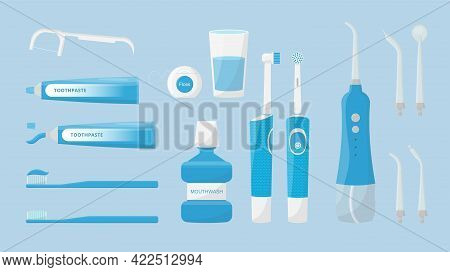 Toothbrush, Electric Toothbrush, Portable Irrigator And Toothpaste, Mouthwash, Dental Floss Isolated